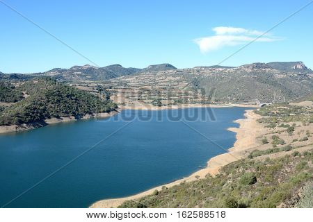 Sardinia. Flumendosa River.View of meddle lake of Flumedosa
