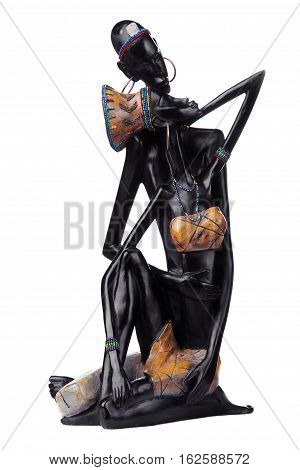 Statuette of african couple.Girl and man.Love.African love