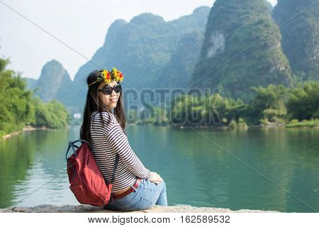 Girl Admiring The Karst Scenic Area Outdoors