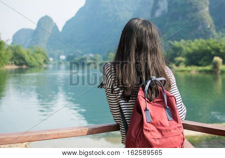 Girl Admiring The Karst Scenic Area Outdoors