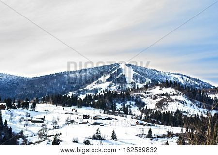 Winter landscape. Carpathian Mountains,  beautiful carpathian sky.