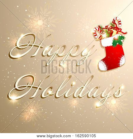 Golden Christmas Holidays Background with Red christmas stocking