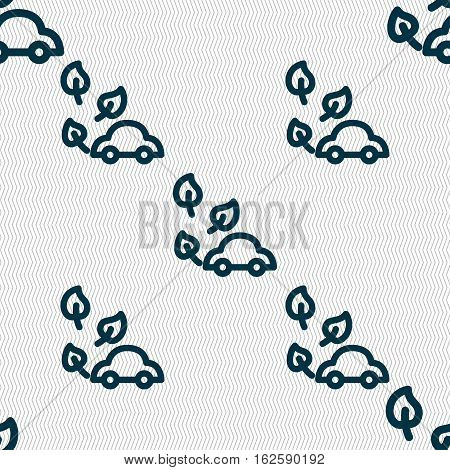 Eco Car Icon Sign. Seamless Pattern With Geometric Texture. Vector