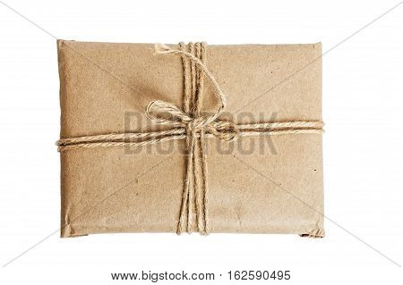 Parcel With Kraft Paper Isolated On White