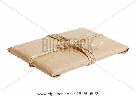 Gift Parcel With Kraft Paper Isolated On White