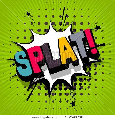 Lettering splat. Comic text sound effects. Vector bubble icon speech phrase cartoon exclusive font label tag expression sounds illustration. Comics book balloon