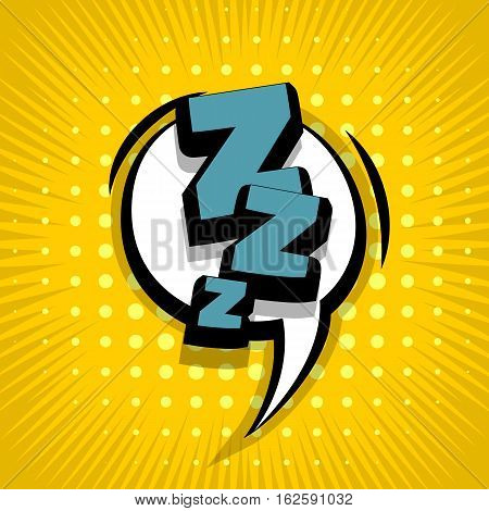 Lettering Zzz sleep dream. Comic text sound effects. Vector bubble icon speech phrase cartoon exclusive font label tag expression sounds illustration. Comics book balloon