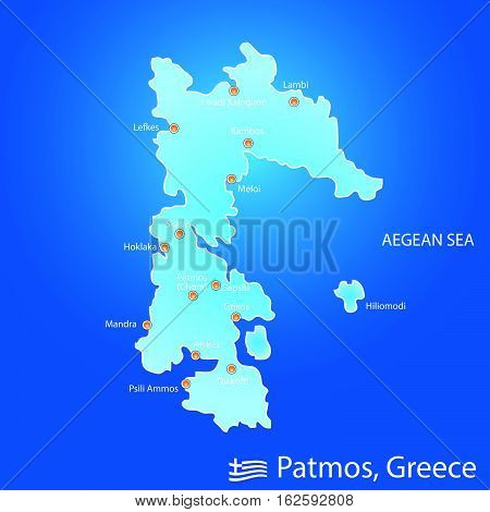 Island Of Patmos In Greece Map Illustration In Colorful