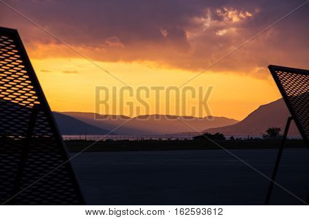 Airport in Tivat Montenegro at beautiful sunet
