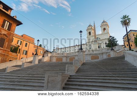 famous Spanish Steps with basilica, Rome, Italy