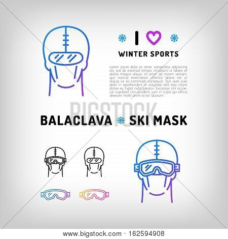 Vector balaclava isolated icon, ski mask, snowboard equipment. Winter sports, sportswear. Black and color thin line icons. Vector illustration