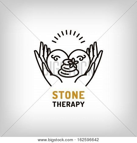 Vector stone therapy logo, beauty spa, relax icon, health and love symbol. Stone massage outline icon and thin line art pictogram. Trendy minimal outline design, Vector illustration