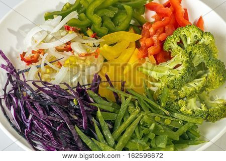 Colorful Uncooked Vegetable Components Of Chop Suey