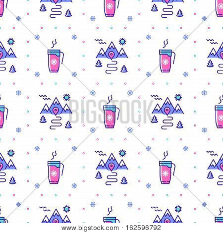 Winter sport seamless pattern. Trendy line icons cup of coffee, tea, hot drinks, mountains, trees, snowflakes, snow. Winter landscape repeat background, Snowboarding or ski ornament sportswear. Vector