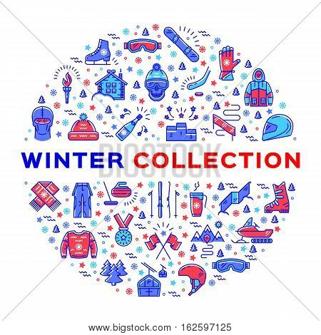 Winter collection of sportswear, fashion clothing and sports equipment. Collage of sports icons in a circle. Trendy infographics for a sport shop. Colorful thin line icons set, Modern vector