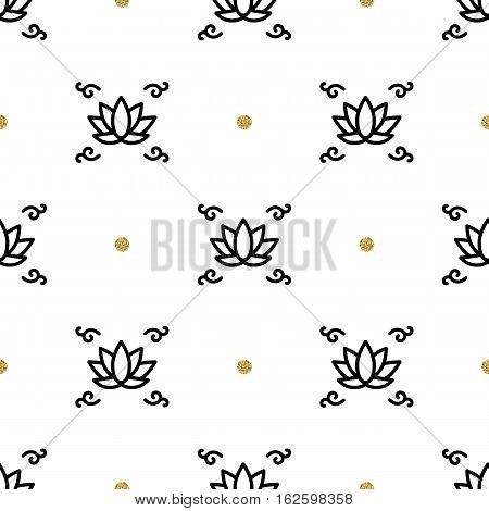 Vector lotus seamless floral pattern, yoga background, Flower lotus thin line art icons. Trendy black and gold elements on a white background. Business pattern style for a yoga studio, health center