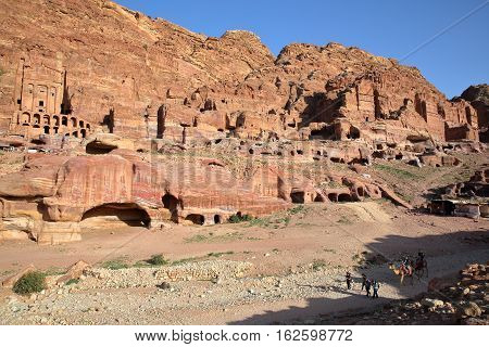 PETRA, JORDAN: General view of the Royal Tombs with The Urn Tomb on the left side
