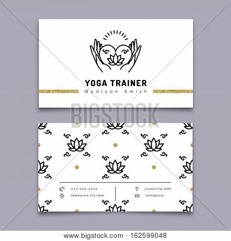 Vector yoga trainer business card template. Yoga outline icon and thin line art pictogram, meditation icon, lotus floral pattern. Nature, beauty, health symbols. Vector illustration