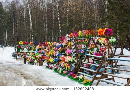 Sale Of Artificial Flowers And Wreaths At The City Cemetery Office, March 5, 2016.