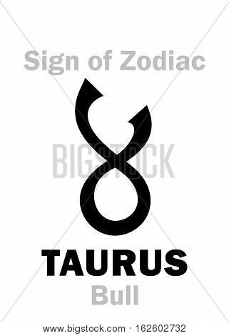 Astrology Alphabet: Sign of Zodiac TAURUS (The Bull). Hieroglyphics character sign (single symbol).