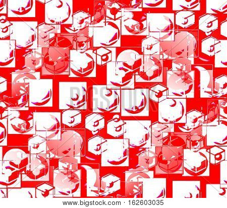 Abstract seamless background in the red in divorce smooth surface and bulging red and white balls and circles and dots