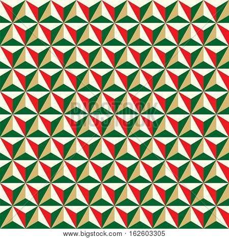 Seamless Christmas faceted polyhedral background pattern texture
