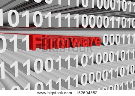 Firmware presented in the form of binary code 3d illustration