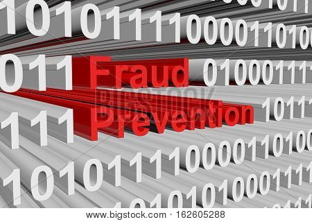 fraud prevention in the form of binary code, 3D illustration