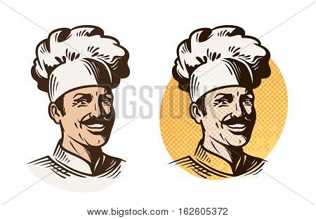 Chef, baker, cook symbol. Cooking, restaurant or cafe logo. Vector illustration isolated on white background