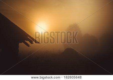 misty morning in the deserted village, Kenozero lake, Arkhangelsk oblast, Russia