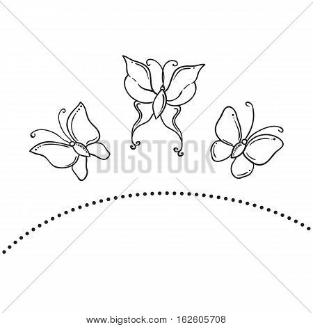 Buterfly clipart set illustration vector lineart. Clipart
