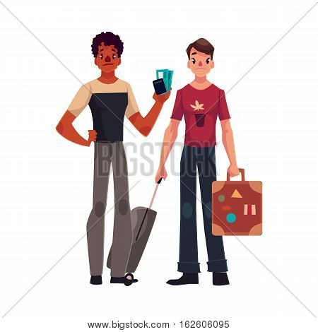 Two young men, one with suitcases, another holding tickets, cartoon illustration isolated on white background. Airplane passengers, gay couple, friends with suitcases, going to, from vacation