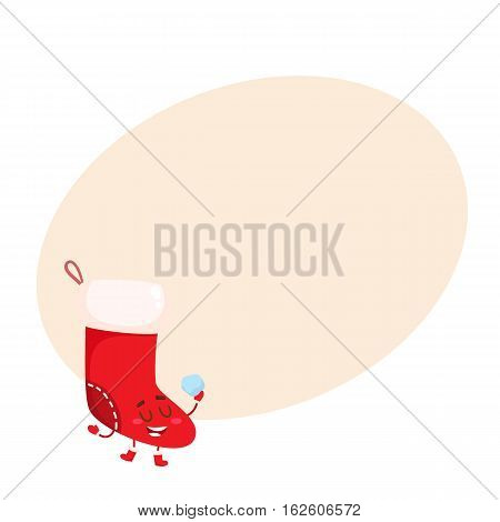 Funny Christmas boot, stocking character, cartoon vector illustration on background with place for text. Xmas traditional Christmas boot, decoration element with smiling face