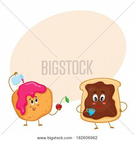 Cute and funny toast with chocolate spread and donut characters, pastry for breakfast, cartoon vector illustration on background with place for text. Toasted breakfast bread and English scone