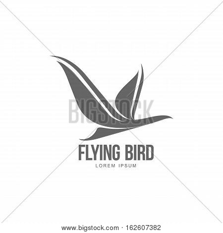 Stylized heron, crane, stork silhouette logo template, vector illustration isolated on white background. Abstract black and white flying heron, crane, stork logo design