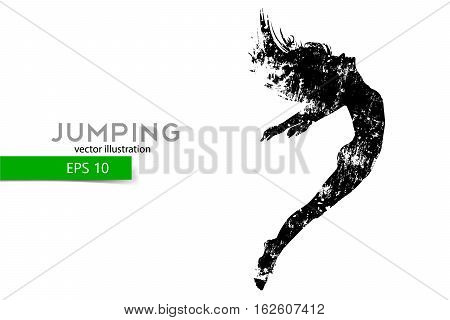 Silhouette of a jumping girl. Text and background on a separate layer, color can be changed in one click.