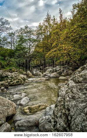A beautiful HDR landscape of a forest and a creek in the late evening.Scenic view of a mountain creek . Greece. Autumn. HDR