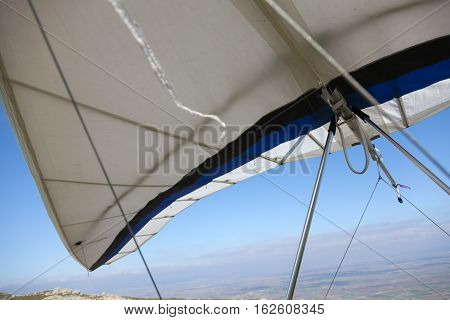 Hang gliders waiting to fly in nature