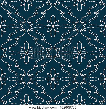 Elegant flourish seamless pattern. Pale pink curved lines on dark blue background. Ornate texture for website backgrounds banners and posters. Vector. Made using clipping mask
