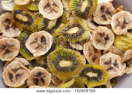 Different varieties mix of dried fruits top view