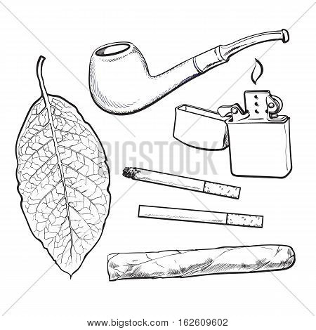 Smoking pipe, lighter, cigar, cigarettes and tobacco leaf, sketch vector illustration isolated on white background. Hand drawn smoking attributes - tobacco leaf, pipe, cigar, lighter and cigarette