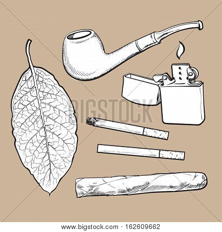 Smoking pipe, lighter, cigar, cigarettes and tobacco leaf, sketch vector illustration isolated on white background. Hand drawn smoking attributes - tobacco leaf, pipe, cigar, lighter and cigarette.
