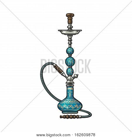 Blue Eastern, Turkish, Arabic, Persian glass and metal hookah, sketch vector illustration isolated on white background. Realistic hand-drawing of blue colored hookah, smoking attribute