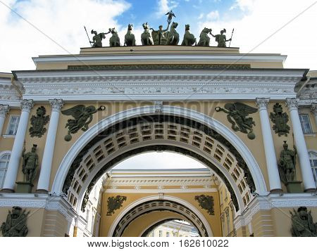 Triumphal arch of the General staff. The General staff building on Palace square. Saint Petersburg, Russia.