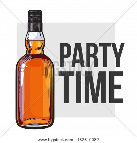 whiskey bottle, sketch style vector invitation, banner, poster template. Realistic hand drawing of an unlabeled, unopened whiskey bottle, party time concept