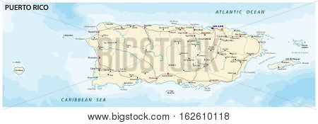 vector road map of the caribbean island puerto rico