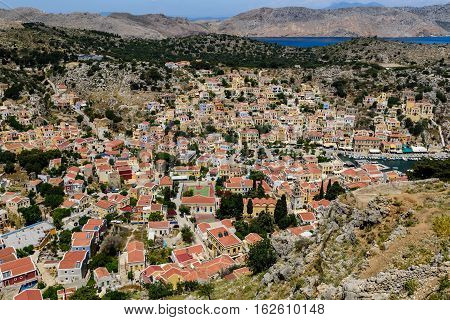 Aerial view of Symi town, Symi island, Dodecanese, Greece