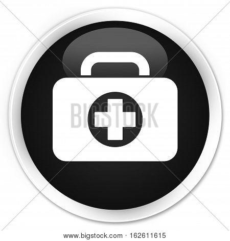 First Aid Kit Bag Icon Premium Black Round Button