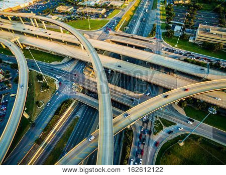 Close up Interchange , Loops , and Highways Interstate 35 and Toll Road 45 Austin Texas Transportation