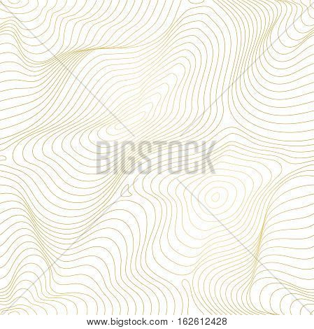 Vector golden texture, gold lines seamless pattern, curved metal foil, background with 3D visual effect. Abstract dynamic rippled surface, illusion of movement, curvature. Design for tileable print